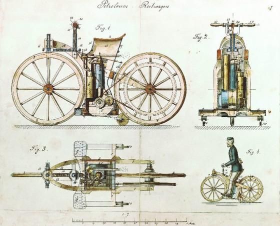 Daimler riding car 1885 560x451